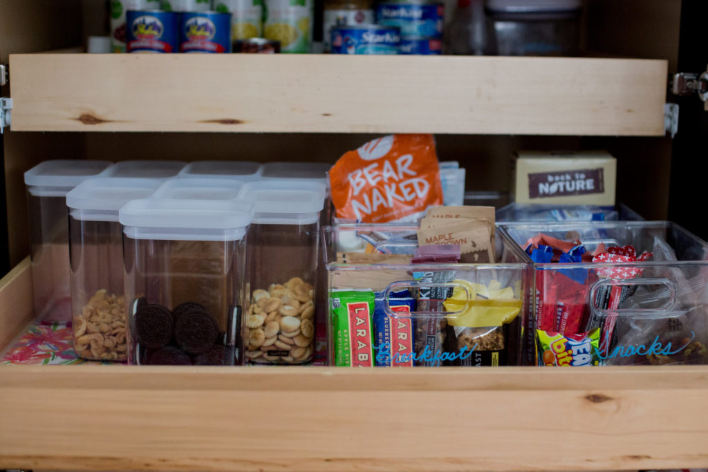 Create a snack bin for easy grab and go snacks to prepare and stay organized for a busy week